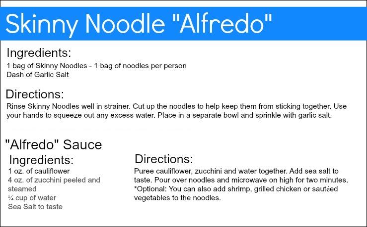 Skinny Noodle Alfredo Recipe