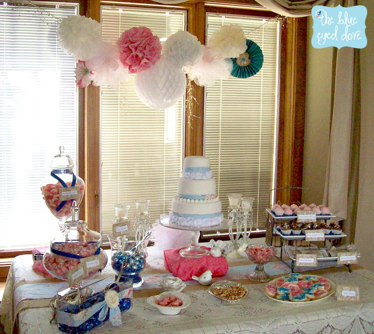 Shabby Chic Bridal Shower Decor Dessert Table